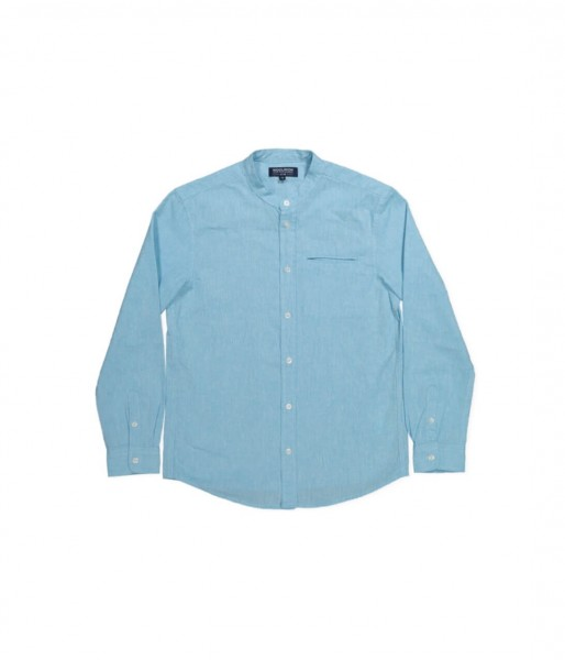 Boy's Cotton Linen Shirt Mediterranean Blue