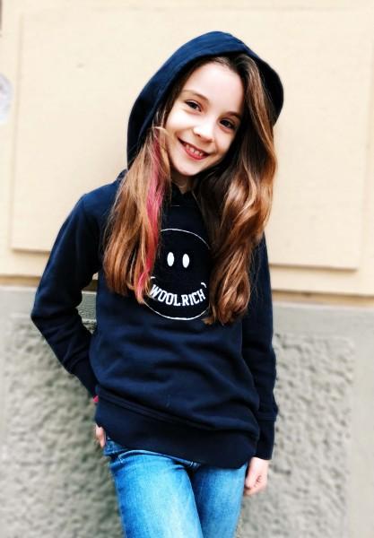 Girls Smile Hoodie Melton Blue