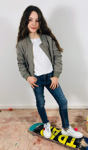 Girl's Embroidery over Bomber Pale Leaf