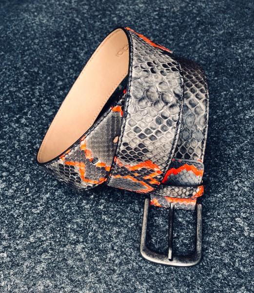 Leather Belt Python grau neonrot