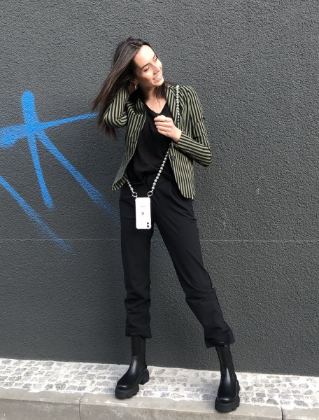 Blazer stripe black/khaki