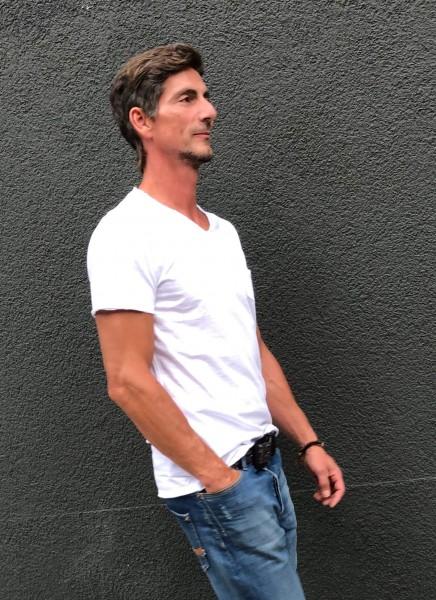Basic T-Shirt Stewart V-Neck white