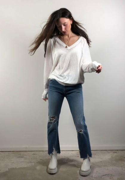 Megan V-Neck Burnout Sweatshirt White