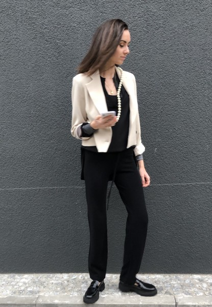 Cropped Blazer light safari