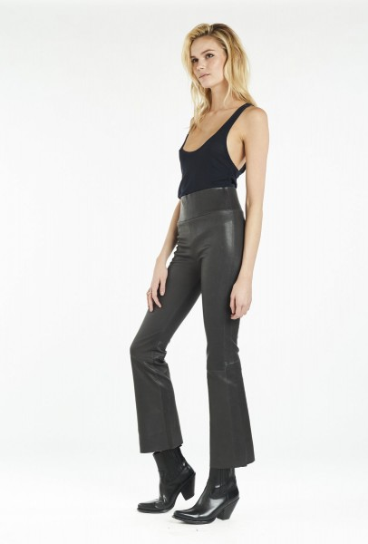 High Waist Leather Leggings Ankle Flare Anthracite