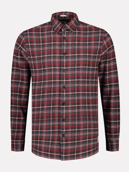 Overshirt Brushed Flannel Check Dk Red