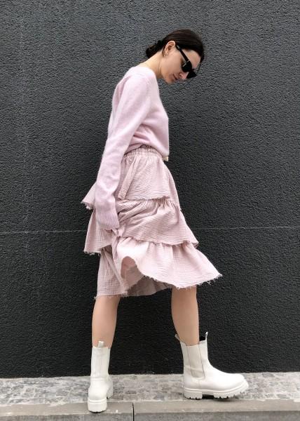 Ruffle Skirt Crinkle Light pink
