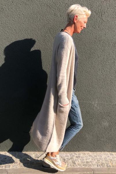 Long Cardigan Knit Light Safari