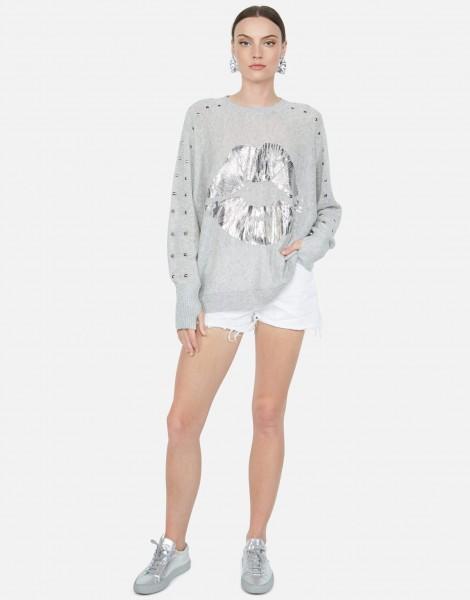 Ladonna Cashmere Sweater Foil Lips