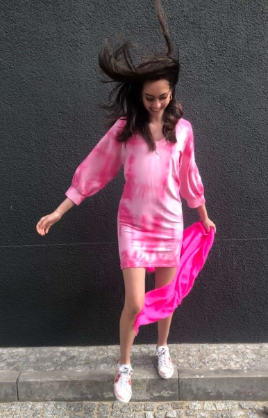V-Neck Tunic Tie Dye candy pink