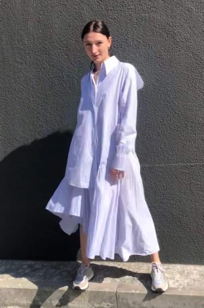 Dress Popeline white blue Striped