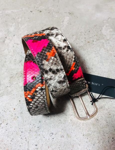 Leather Belt Python natur pink/orange