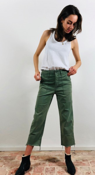 Patch Pocket Private Ankle Fray Army Green