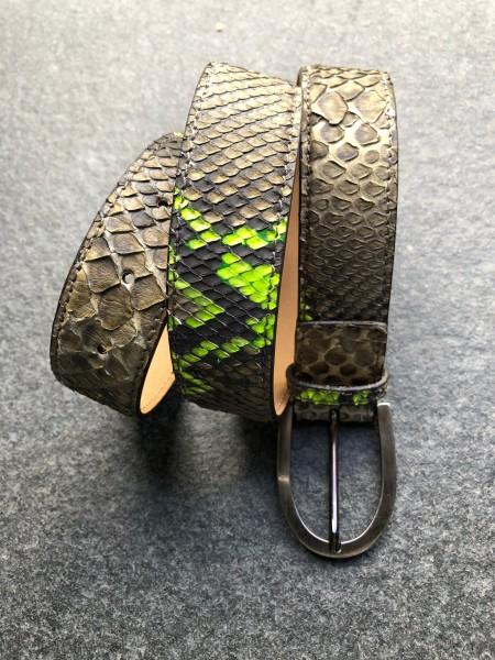 Leather Belt Python olive neon Gelb