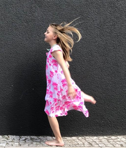 Kidsdress Palm Fluo Pink