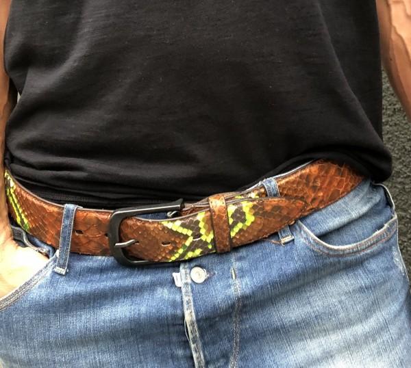 Leather Belt Python cognac neon Gelb
