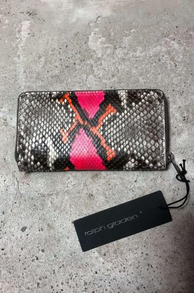Leather Zipp Wallet Python natur pink/orange