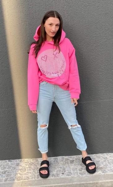 Hoodie Smiley Cristal pink