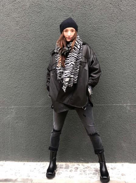 Adora Heavy Leather Jacket black