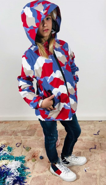 Hood+Full Zip Rain Jacket Star Camou