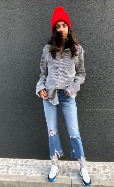 Frayed Eddge Shirt Navy/White Stripe