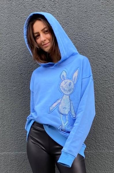 Hoodie Rabbit Toy Blue