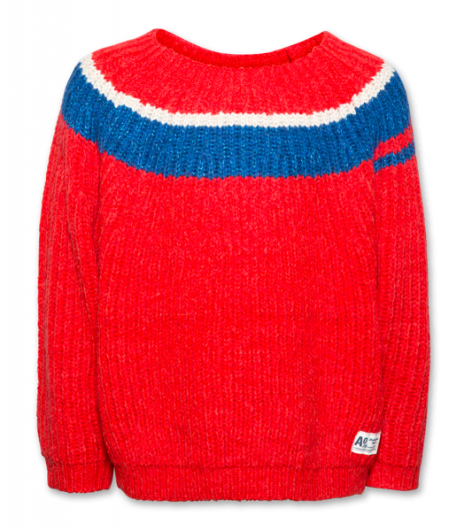 C-Neck Stripe C mohair red
