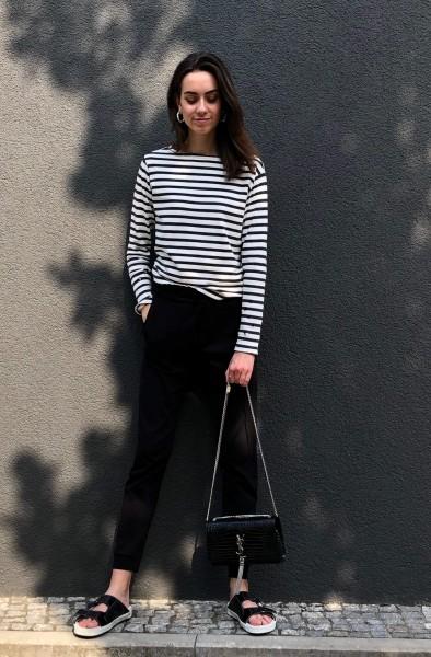 Longsleeve Tee stripe ecru/black