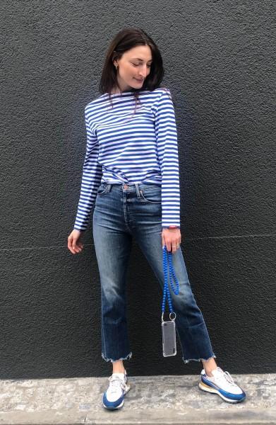 Boatneck Tee Blue/White Stripe