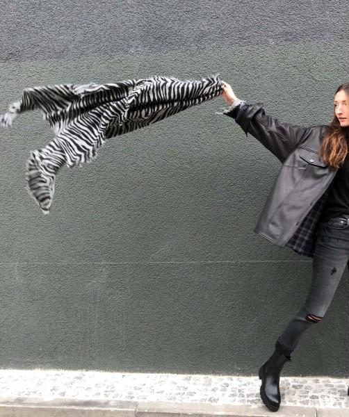 Cashmere Schal Zebra black