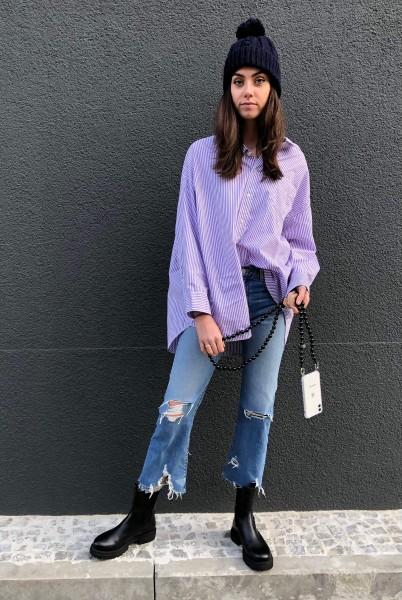 Button Front Shirt Purple Candy Stripe