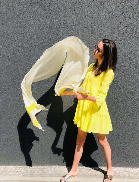 Cashmere Schal Hori neon gelb naturel Ombre