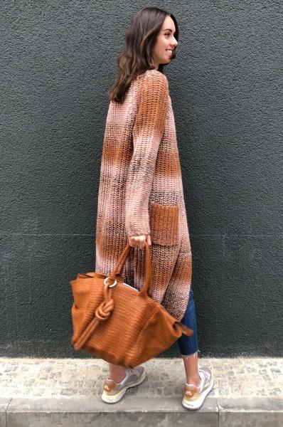 Handbag le Sac Tressé poigné longue cognac