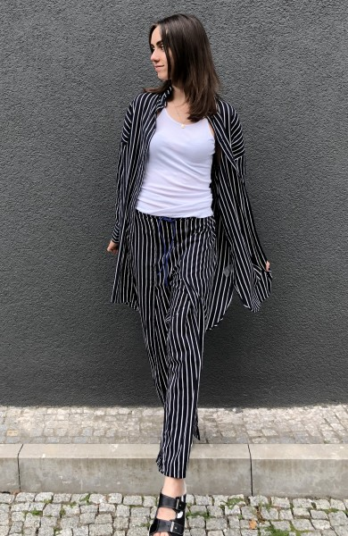 Beach Pants Stripes dark grey blue
