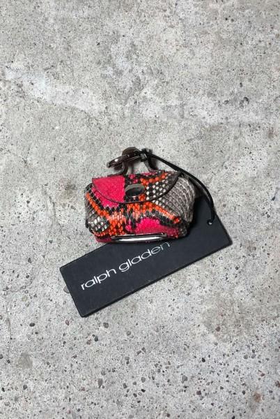 Leather Doggy-Do-Bag Python natur pink+orange