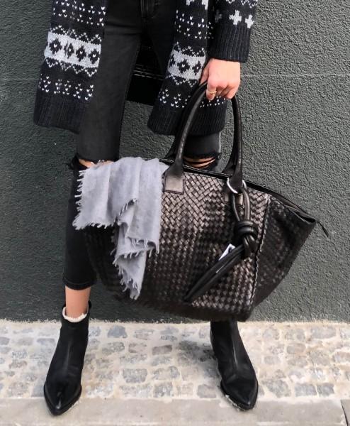 Handbag le Sac Tressé poigné longue black