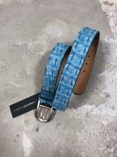 Leather Belt Krokodil light blue