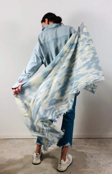 Cashmere Schal Wolke sprayed bleu