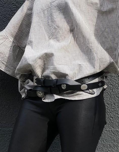 Leatherbelt Longhorn black & silber Buggles