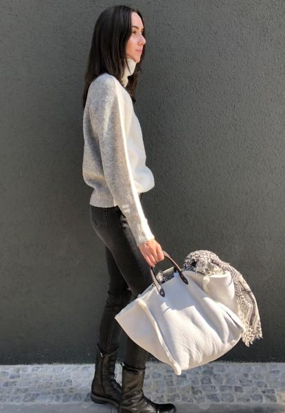 Reversible Coll Sweater Ecru