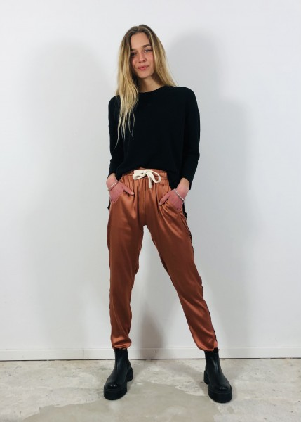 Easy Pants shiny Copper brown