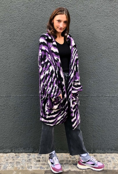 Coat Keena Purple Zebra