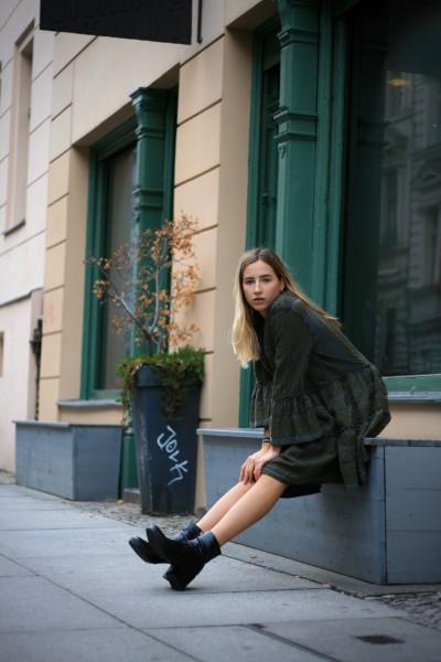 Ethno Short Ella Dress Vintage Grey/Kaki