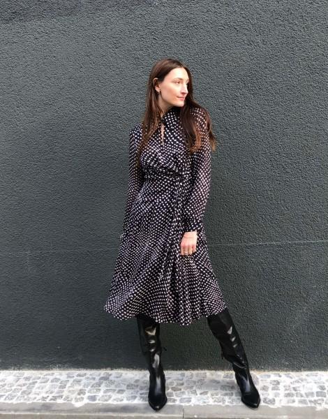 Dress Dalmon Polka Kufiya black