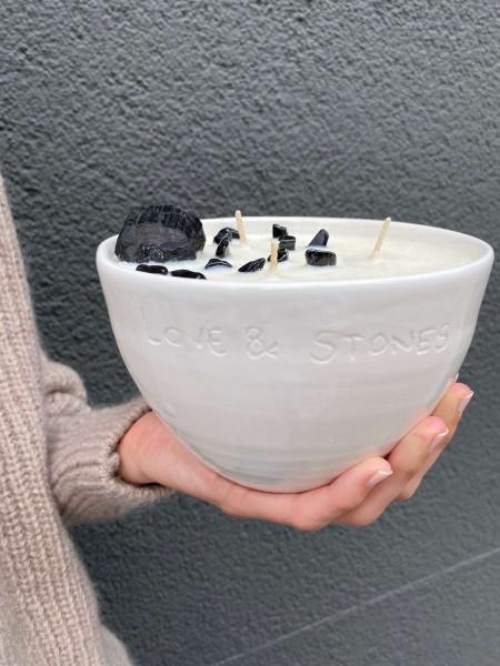 Karma Heal Ceramic Candle Tourmaline Patchouli & Lemongrass