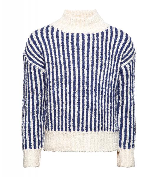 Mock neck stripes navy blue