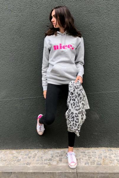 Hoodie Grey Mel Nice Neon Pink