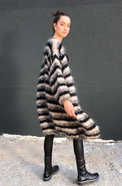 Cardigan Long Stripes black/sand/ecru