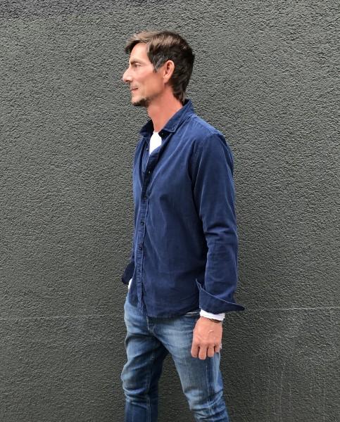 Shirt Cut away collar Babycord Steel Blue