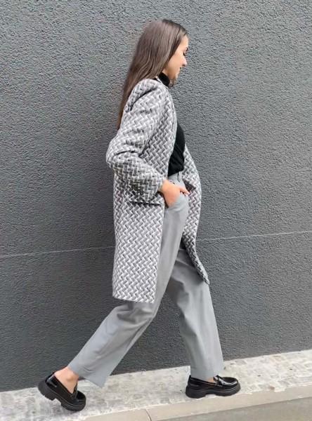 Coat Carter 3D Kufiya white & grey